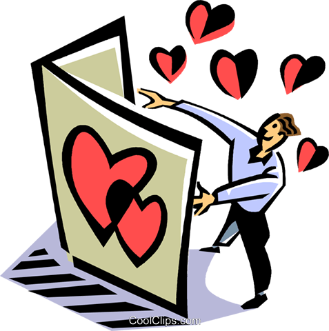 man reading a Valentine's day card Royalty Free Vector Clip Art illustration vc061509