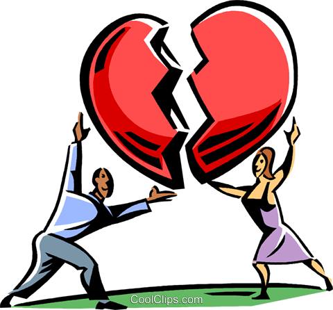 couple putting a heart back together Royalty Free Vector Clip Art illustration vc061510