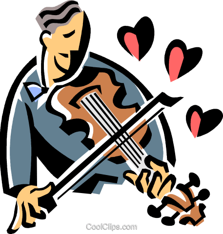 violinist playing romantic music Royalty Free Vector Clip Art illustration vc061511