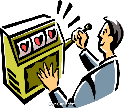 Man playing a slot machine Royalty Free Vector Clip Art illustration vc061512