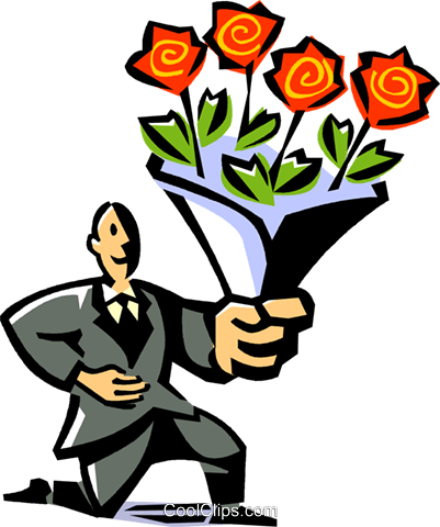 man with a bouquet of roses Royalty Free Vector Clip Art illustration vc061513