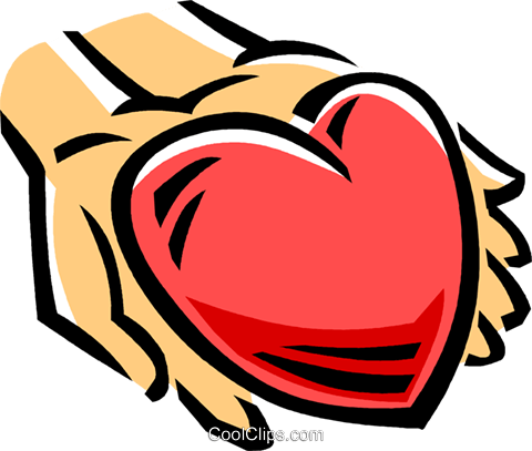 person with a heart in their hands Royalty Free Vector Clip Art illustration vc061514