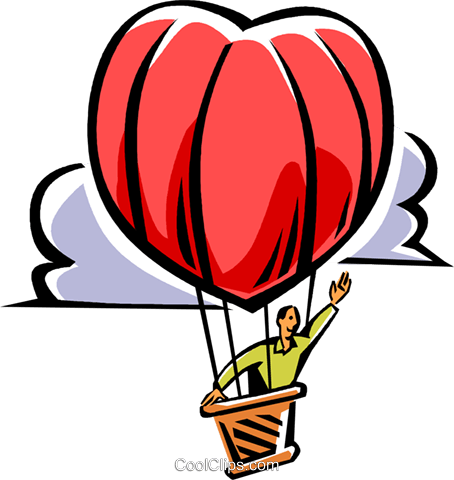 man in a heart shaped hot air balloon Royalty Free Vector Clip Art illustration vc061516