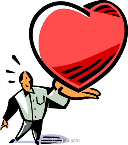 man with an oversized heart in his hands Royalty Free Vector Clip Art illustration vc061518