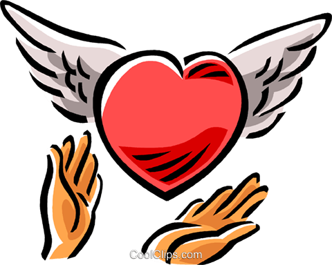heart with wings Royalty Free Vector Clip Art illustration vc061519