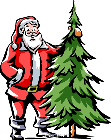 Santa standing beside a Christmas tree Royalty Free Vector Clip Art illustration vc061525