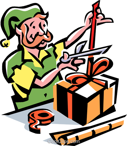 Elf wrapping a Christmas present Royalty Free Vector Clip Art illustration vc061526