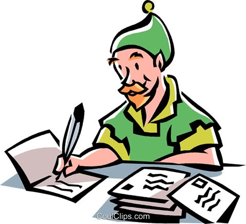 elf writing christmas cards royalty free vector clip art rh search coolclips com