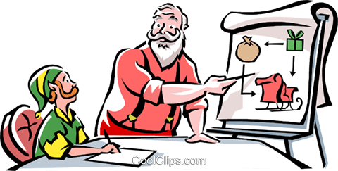 Santa and an Elf Royalty Free Vector Clip Art illustration vc061529
