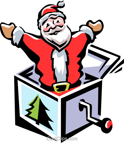 Santa jack-in-the-box Royalty Free Vector Clip Art illustration vc061531