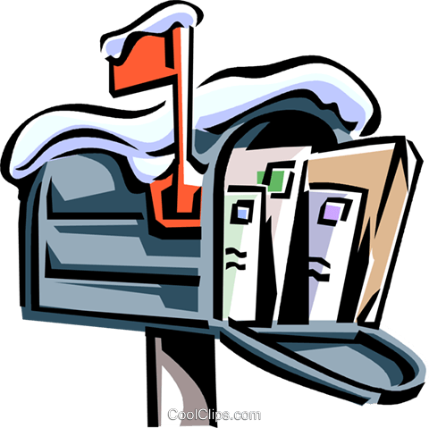mailbox covered in snow with envelopes Royalty Free Vector Clip Art illustration vc061533