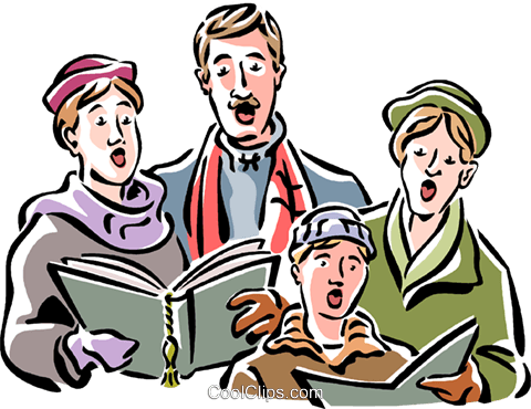 Christmas carolers Royalty Free Vector Clip Art illustration vc061534