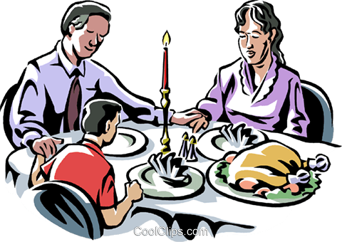 family saying Grace before a meal Royalty Free Vector Clip Art illustration vc061537