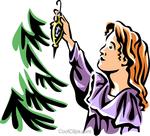 girl hanging a Christmas ornament Royalty Free Vector Clip Art illustration vc061538