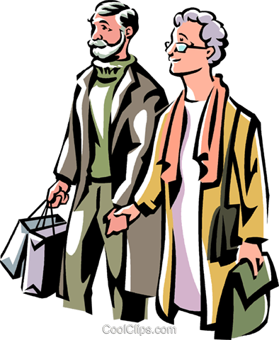 older couple Christmas shopping Royalty Free Vector Clip Art illustration vc061539