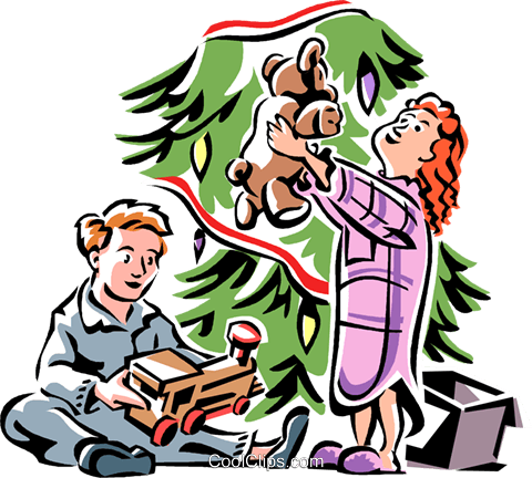 Christmas morning with new toys Royalty Free Vector Clip Art illustration vc061556