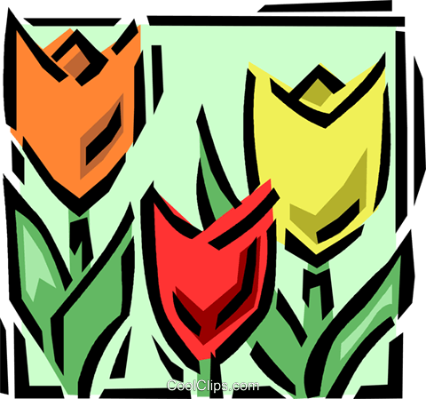 tulips Royalty Free Vector Clip Art illustration vc061600