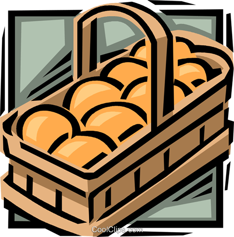 Basket of oranges Royalty Free Vector Clip Art illustration vc061627