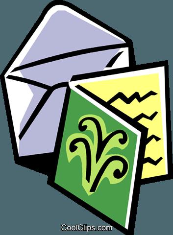 Christmas Card Clip Art.Christmas Card With Envelope Royalty Free Vector Clip Art