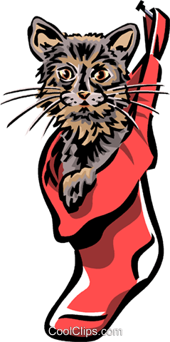 cat in a Christmas stocking Royalty Free Vector Clip Art illustration vc061677