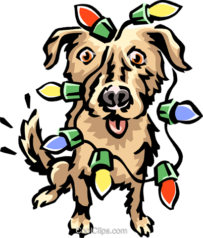 Dog covered in Christmas lights Royalty Free Vector Clip Art illustration vc061678
