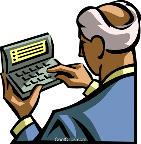 Businessman using a digital organizer Royalty Free Vector Clip Art illustration vc061681