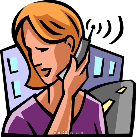 Woman talking on a cell phone Royalty Free Vector Clip Art illustration vc061687