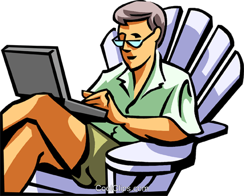 man working on a laptop computer Royalty Free Vector Clip Art illustration vc061689