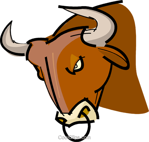 Bull with nose ring Royalty Free Vector Clip Art illustration vc061691