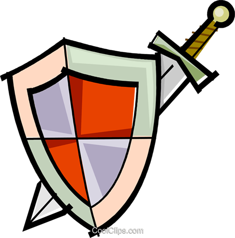 sword and shield Royalty Free Vector Clip Art illustration vc061695