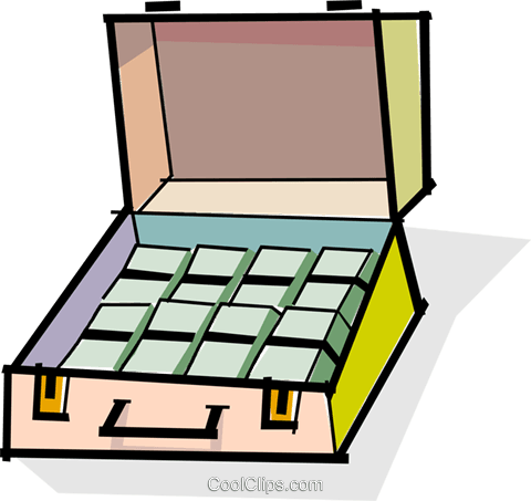 briefcase full of money Royalty Free Vector Clip Art illustration vc061696