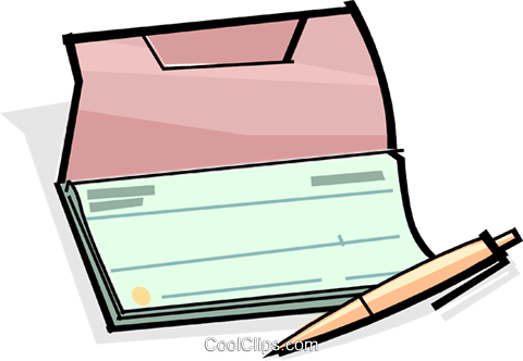 checkbook with pen Royalty Free Vector Clip Art illustration vc061709