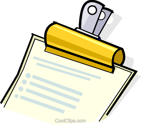 bulldog clip holding papers Royalty Free Vector Clip Art illustration vc061725