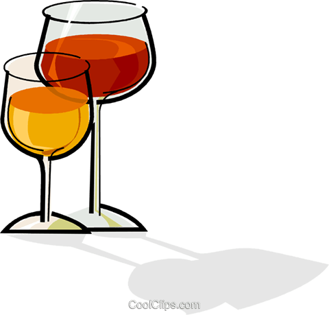 glasses of wine Royalty Free Vector Clip Art illustration vc061729