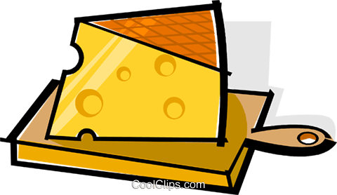 cheese on a cutting board Royalty Free Vector Clip Art illustration vc061731