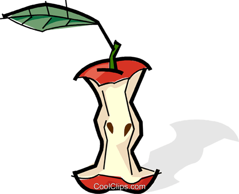 Apple core Royalty Free Vector Clip Art illustration vc061739