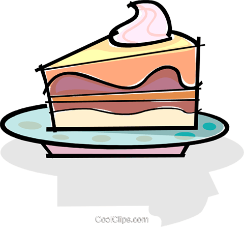 Slice of cake on a plate Royalty Free Vector Clip Art illustration vc061741