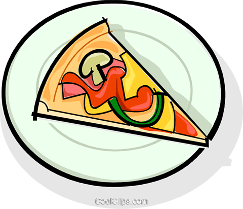 slice of pizza on a plate Royalty Free Vector Clip Art illustration vc061771