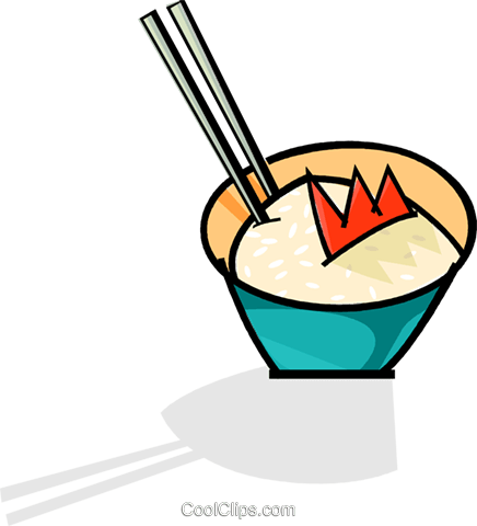 chopsticks in a bowl of rice Royalty Free Vector Clip Art illustration vc061772