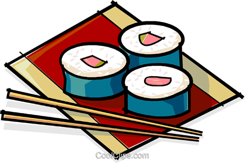 sushi and chopsticks Royalty Free Vector Clip Art illustration vc061781