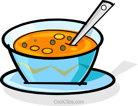 bowl of soup Royalty Free Vector Clip Art illustration vc061789