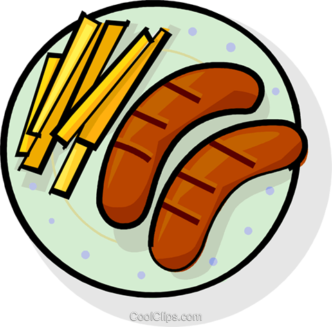 sausages and French fries Royalty Free Vector Clip Art illustration vc061795