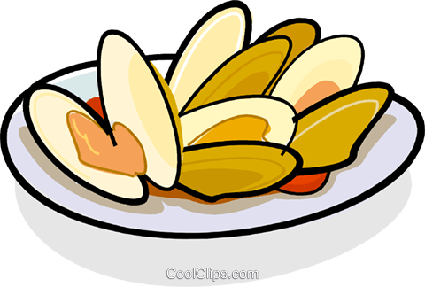 Clams on a plate Royalty Free Vector Clip Art illustration vc061803