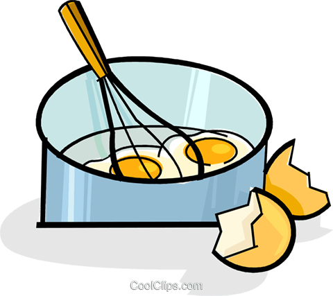 eggs in a pan with a whisk Royalty Free Vector Clip Art illustration vc061819