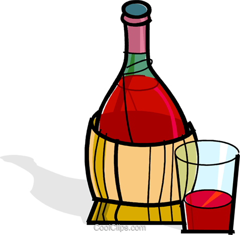 wine bottle and glass Royalty Free Vector Clip Art illustration vc061829