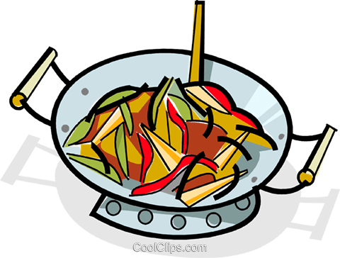 Stir-fry cooking in a wok Royalty Free Vector Clip Art illustration vc061844