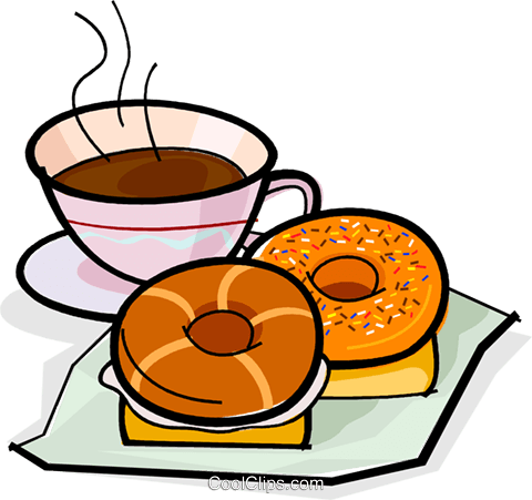 coffee and a doughnut Royalty Free Vector Clip Art illustration vc061850