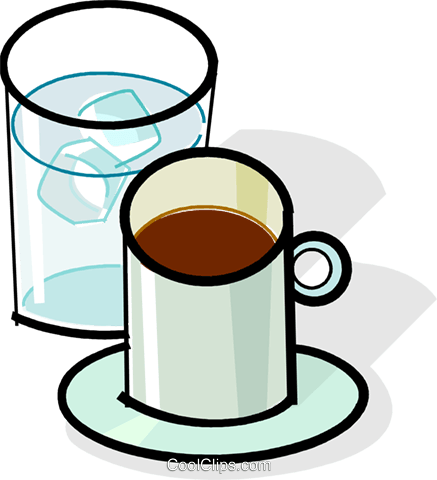 cup of coffee and glass of water Royalty Free Vector Clip Art illustration vc061855