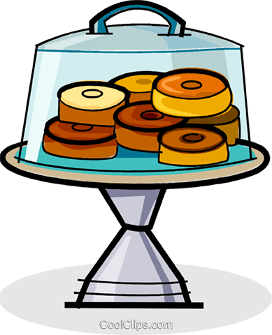 donuts in a display case Royalty Free Vector Clip Art illustration vc061858