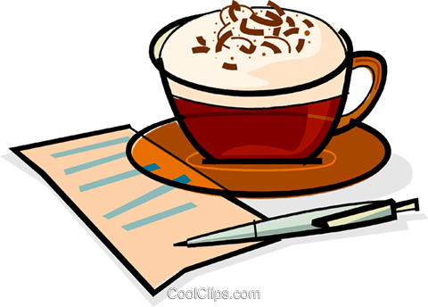 fancy coffee and a list Royalty Free Vector Clip Art illustration vc061865